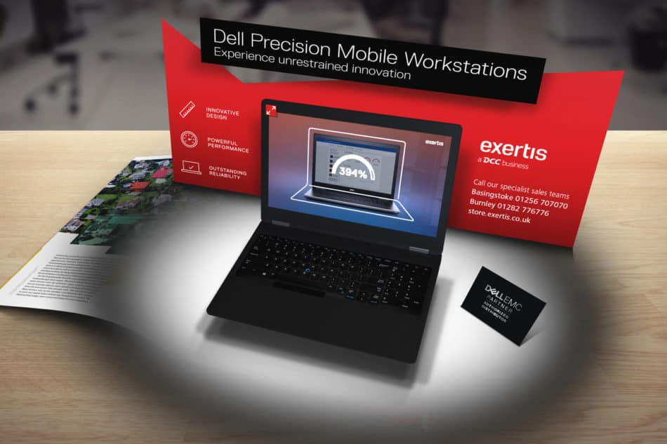 Image of an AR Reydar experience created for Exertis, showing the digital twin of a Dell laptop in the Exertis virtual store