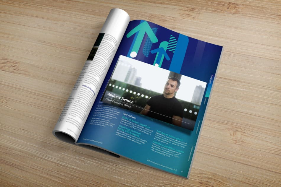 Mockup showing the Alfa Augmented reality video player in action, hovering above the page of the annual report