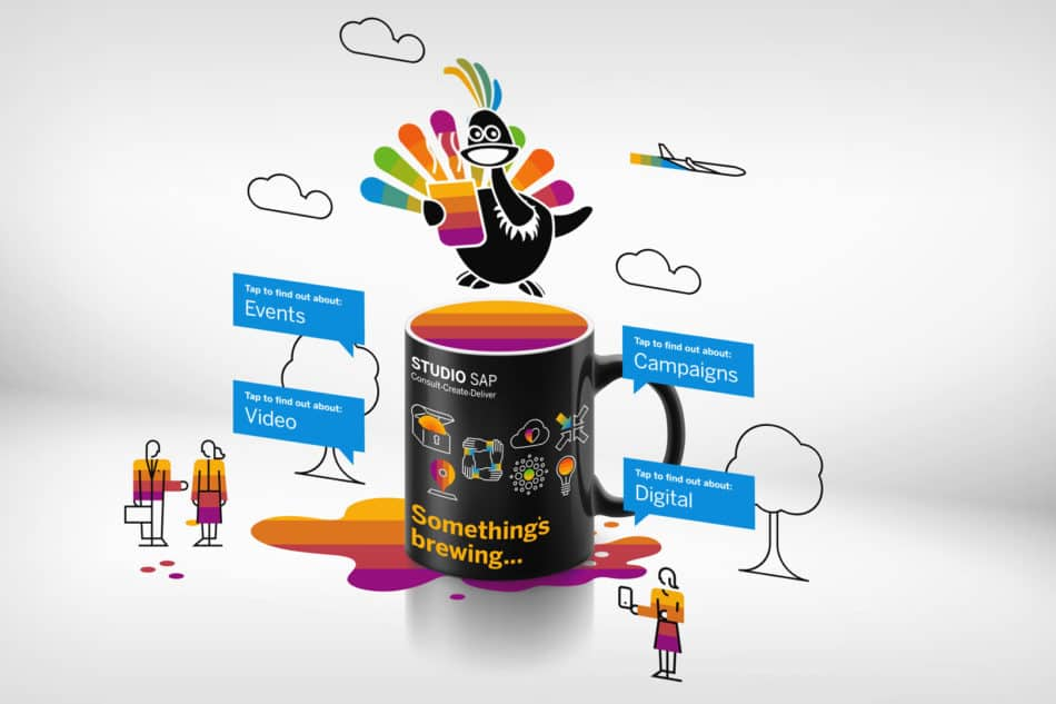 An augmented reality promo experience centred around a magical mug that comes to life with AR to showcase Studio SAP's unique brand assets and quirky bird mascot.